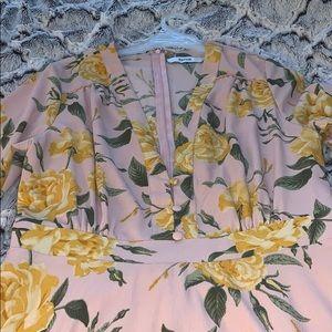 V-neck floral printed dress